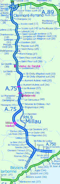 Sketch Map Of The A75 From Clermont Ferrand To Bziers