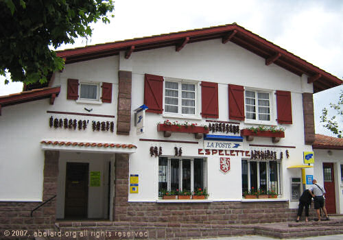 La Poste (the Post Office) at Espelette, with piment garlands