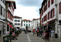 Espelette's main street, in Basque colours - red and white.
