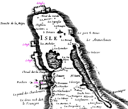 17th century map showing the elcuses on the coast of northern Oleron
