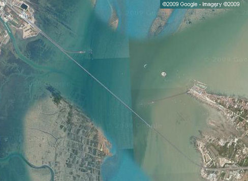 Satellite view of the Ile d'Oleron bridge/viaduct