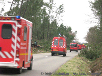 A convey of rescue vehicles
