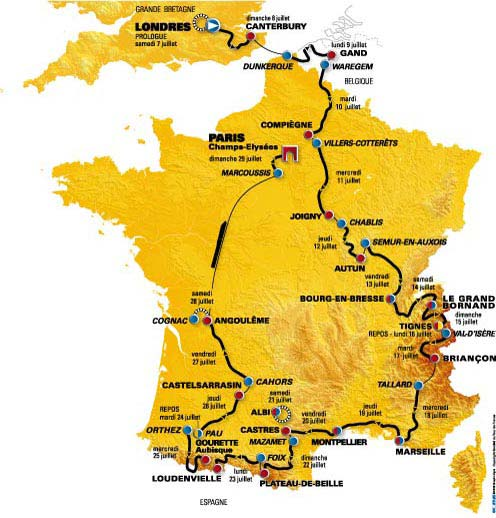 2007 Tour de France race route