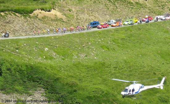 The Yellow Jersey group approaching the Port de Larrau at the top of the first steep HC climb on the 16th stage.
