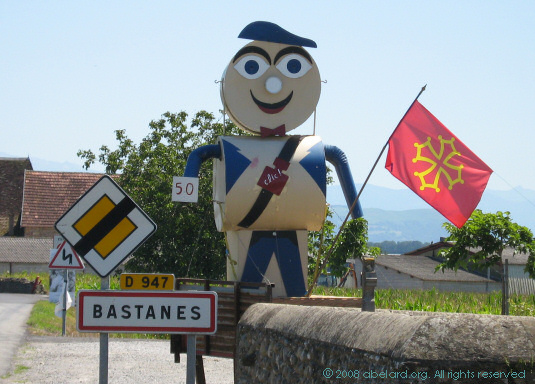Welcoming guardian at the entrance to Bastanes village, 2007