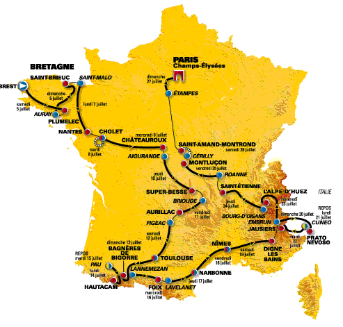 Map of the 2008 Tour de France