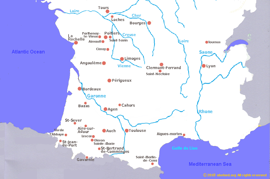 Cities In South Of France Map.Romanesque Churches And Cathedrals In South West France France
