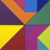 Tangram 3 - Magenta and Orange  by abelard