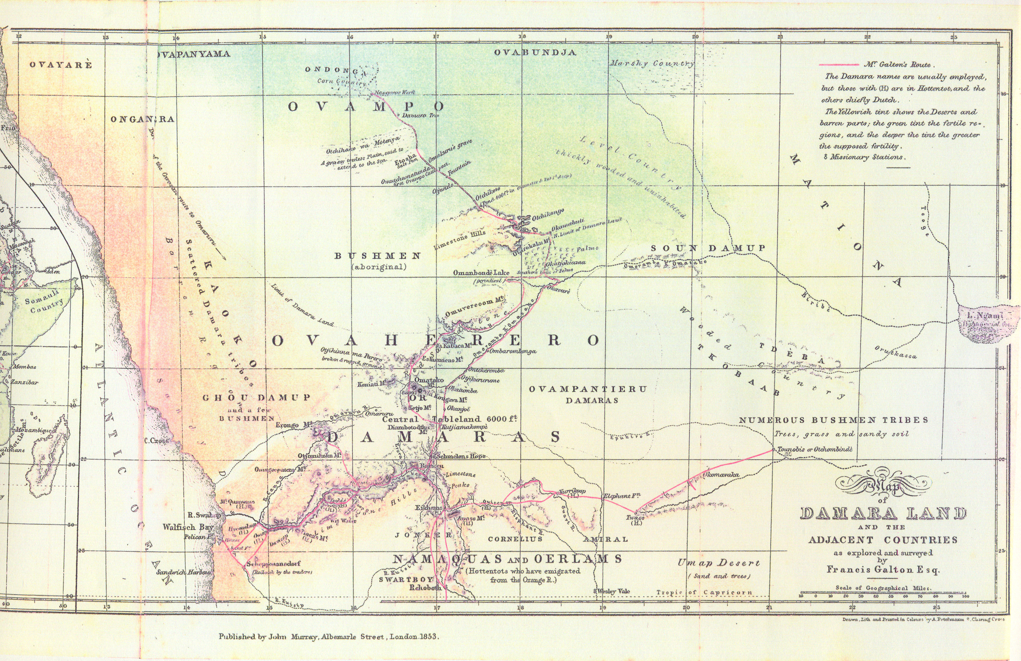 1853 map of Francis Galton's African explorations
