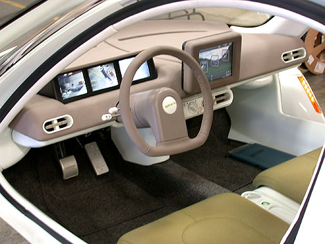 Interior - driving console of the Aptera. Source: popularmechanics.com