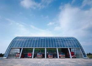 Solar tiles facing  Houten fire station.