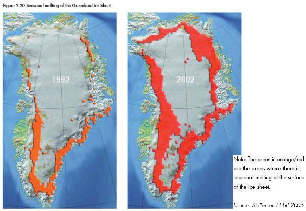 Seasonal melting of the Greenland Ice Sheet, 1992 and 2002. Courtesy, UNO.