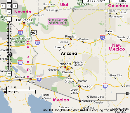 Google map of Arizona, with the Grand Canyon are marked. Image: Google Inc