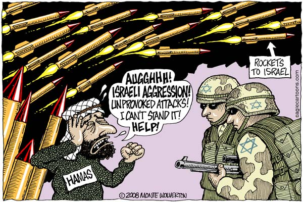 Cartoon of Hamas v. the Coalition og the Willing. Image: cagle.msnbc.com