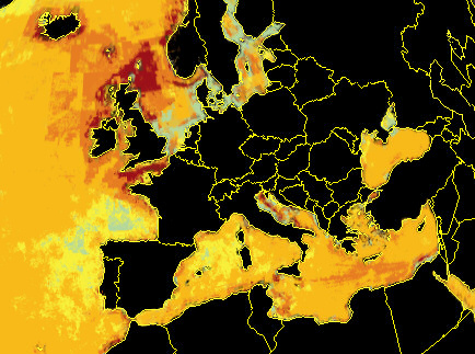 Ocean pollution around Europe.