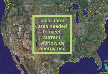 Map showing area need for 'full' solar energy production worldwide. Credit: coolearth