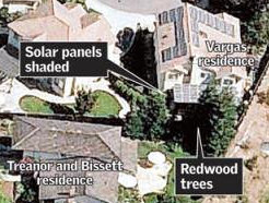 Redwoods shading a solar panel in California. Credit: San Jose Mercury News