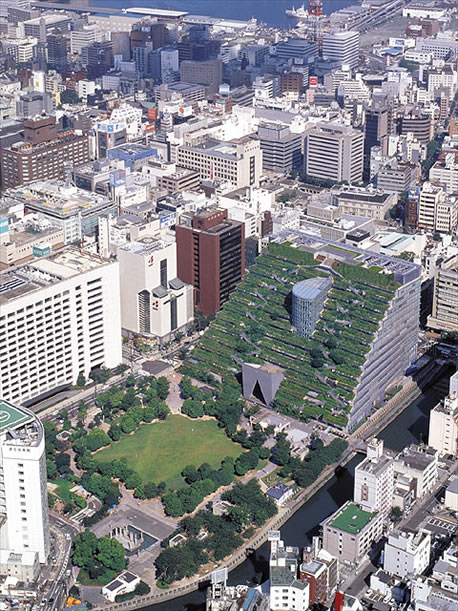 Fukuoka's town hall offices in the city's last open space. Image: metaefficient.com