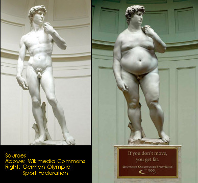 Michaelangelo's David in the modern world. Source: GOSF and Wikicommons