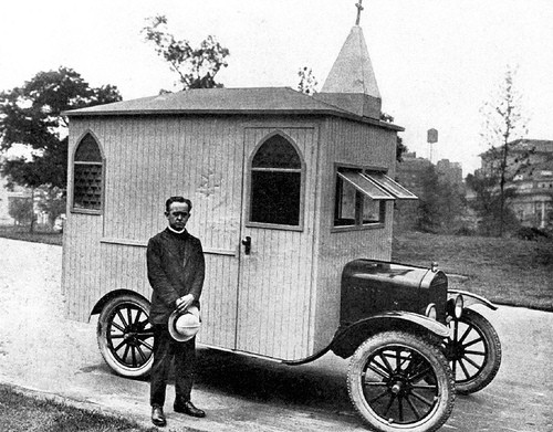 Mobile chapel created by Rev. Branford Clarke,  pictured in 1933