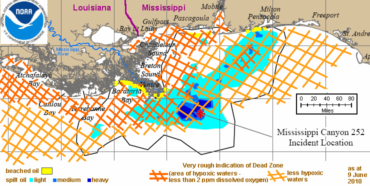 map showing spill extent and dead zone extent