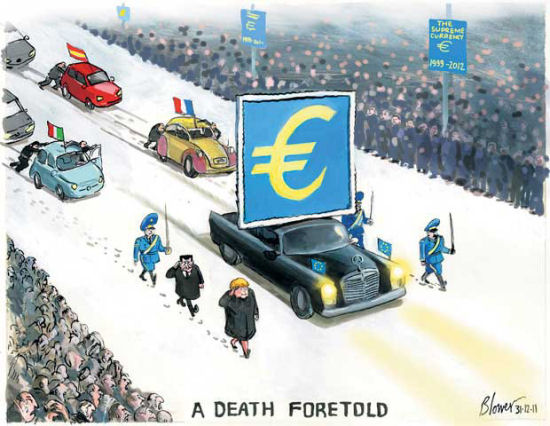Death of the euro. Image: telegraph.co.uk