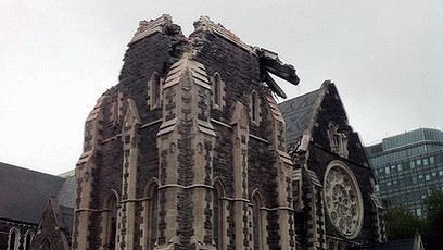 Christchurch cathedral collapsed, its high spire gone. Photo: Stuff.co.nz