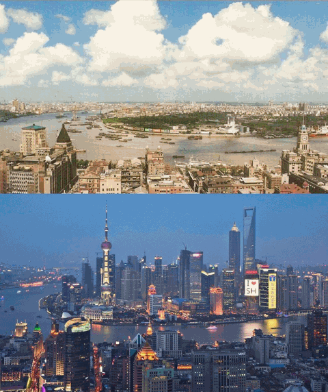 Shanghai in 1990 and 2010. Image: Catherine Rampell
