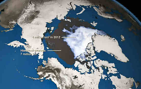 Arctic ice melt - predicted 2012 and historic levels