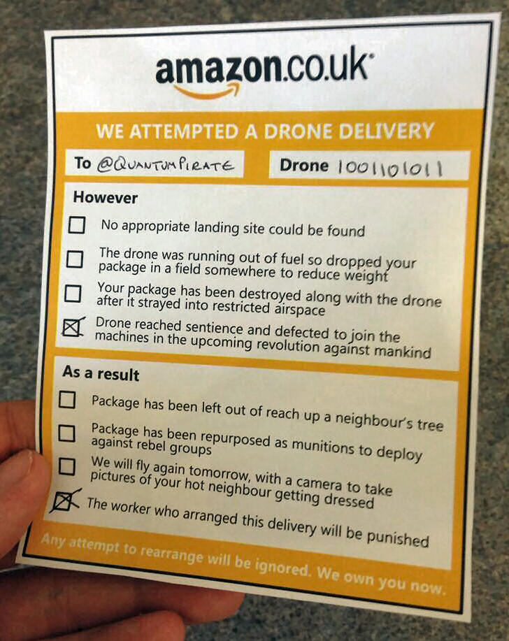 Possible Amazon drone delivery note?