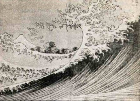 Mt Fuji seen from the sea, Hokusai,          woodcut, 1834