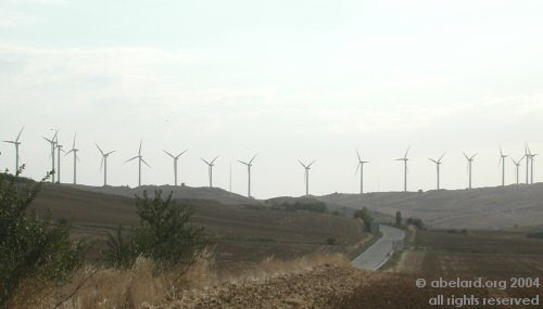 Near Artajona, Northern Spain: a  mere row of windmills. Image credit: abelard.org