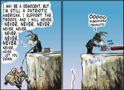 Democrats let down troops for bribes. Cartoon by Sam Ryskind