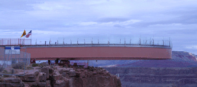 Skywalk structure run out to overhang the Grand Canyon.