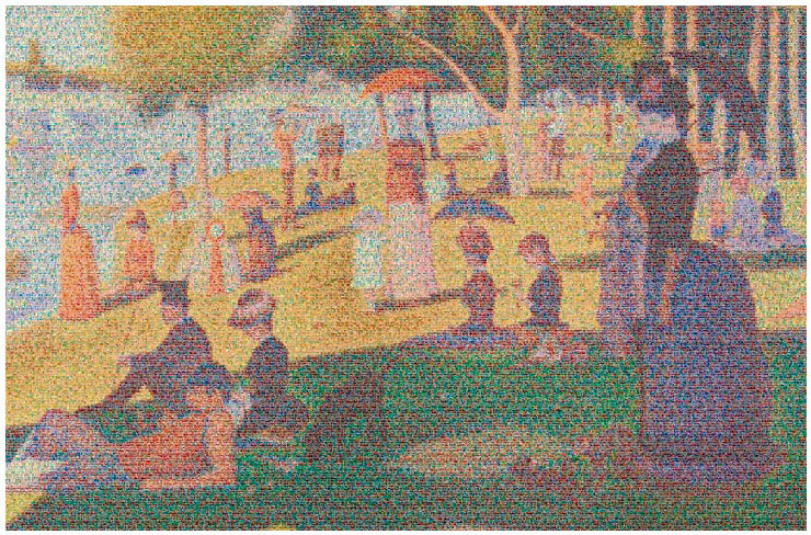 La Grande Jatte by Seurat, interpreted with aluminium cans by Chris Jordan.