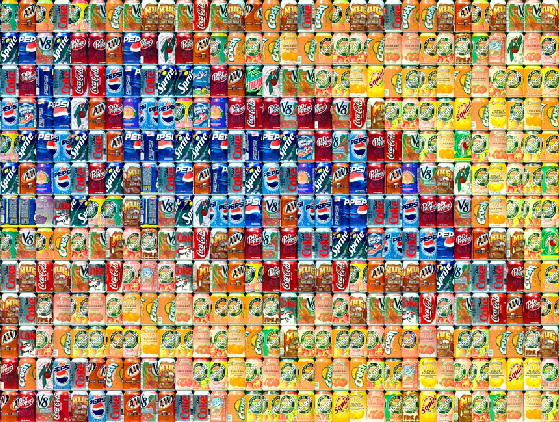 Closeup of La Grande Jatte by Seurat, interpreted with aluminium cans by Chris Jordan.