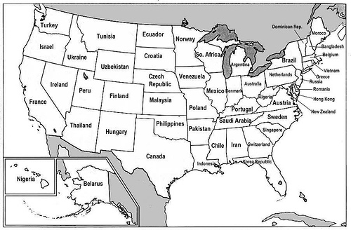 The USA rearranged according to the GDP of other countries. Image credit: The York Group International, Inc.