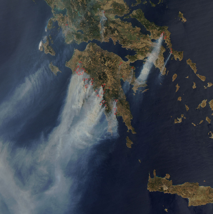 Extensive fires in Greece, large enough to be seen by a  NASA satellite. Image courtesy of MODIS Rapid Response Project at NASA/GSFC