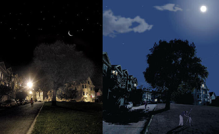 Lunar-resonant street lighting - new moon and full moon. Credit: civiltwilightcollective.com