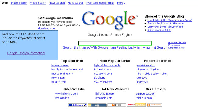 Google search page optimised for the Google search engine robots