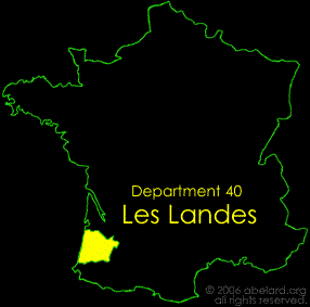 Map of France showing Department 40, Les Landes