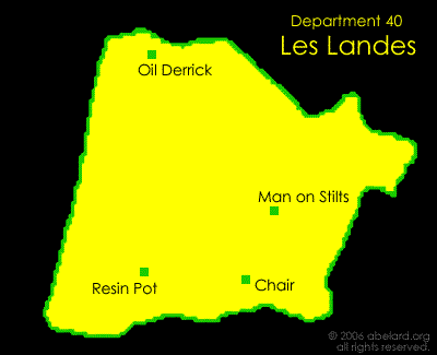 Map of Department 40, Les Landes, showing the art roundabouts