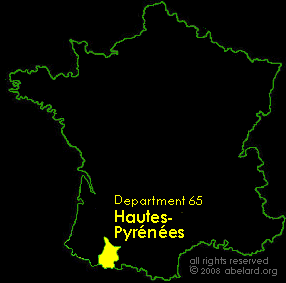 Map of France, highlighting the Department of Hautes-Pyrenees