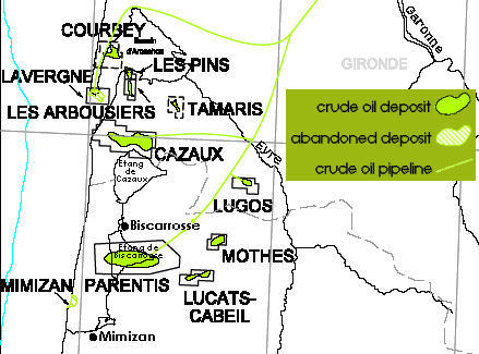 Oil fields at and around Parentis-sur Borne, Aquitaine