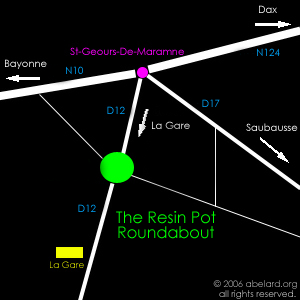 sketch map for the Resin Pot roundabout at St-Geours-De-maremne