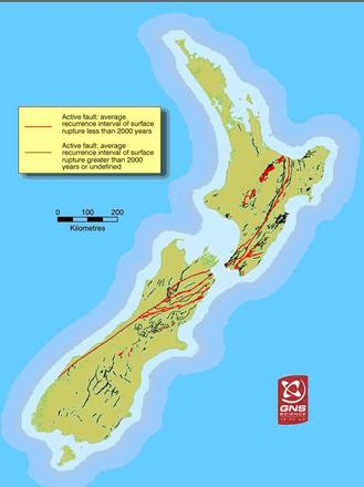 Major fault lines in New Zeland. Image: GNS Science