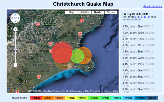 screenshot of animated Christchurch quake map.