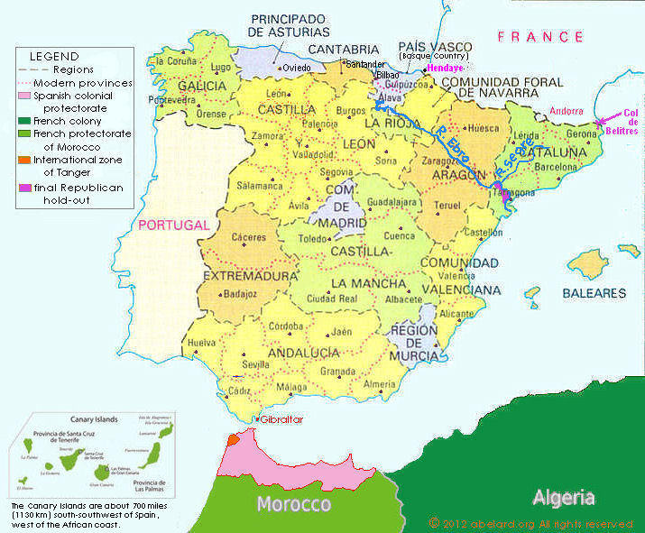 Map Of Spain North Africa.Franco Was Not A Fascist Spain Zone At Abelard Org